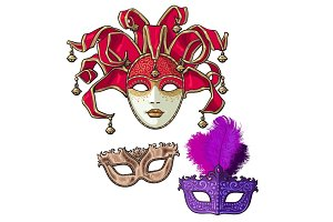 Set of three decorated Venetian carnival masks with feathers and bells