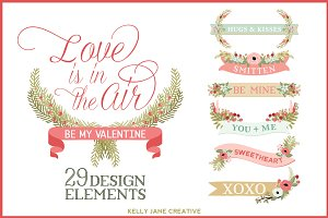 Valentine Banners & Flowers
