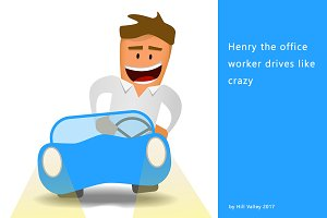 Henry the office worker driving