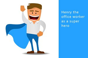 Henry the office worker as a hero
