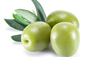 Olive fruit and olive leaves
