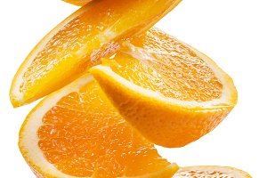 Orange slices on white background.