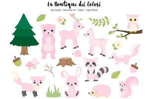 Pink Woodland Animal Clipart