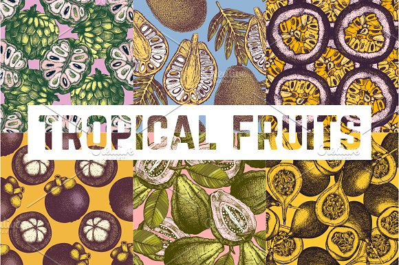 Tropical Fruits Patterns Collection