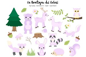 Purple Woodland Animal Clipart