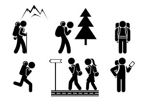 Hiking people icons