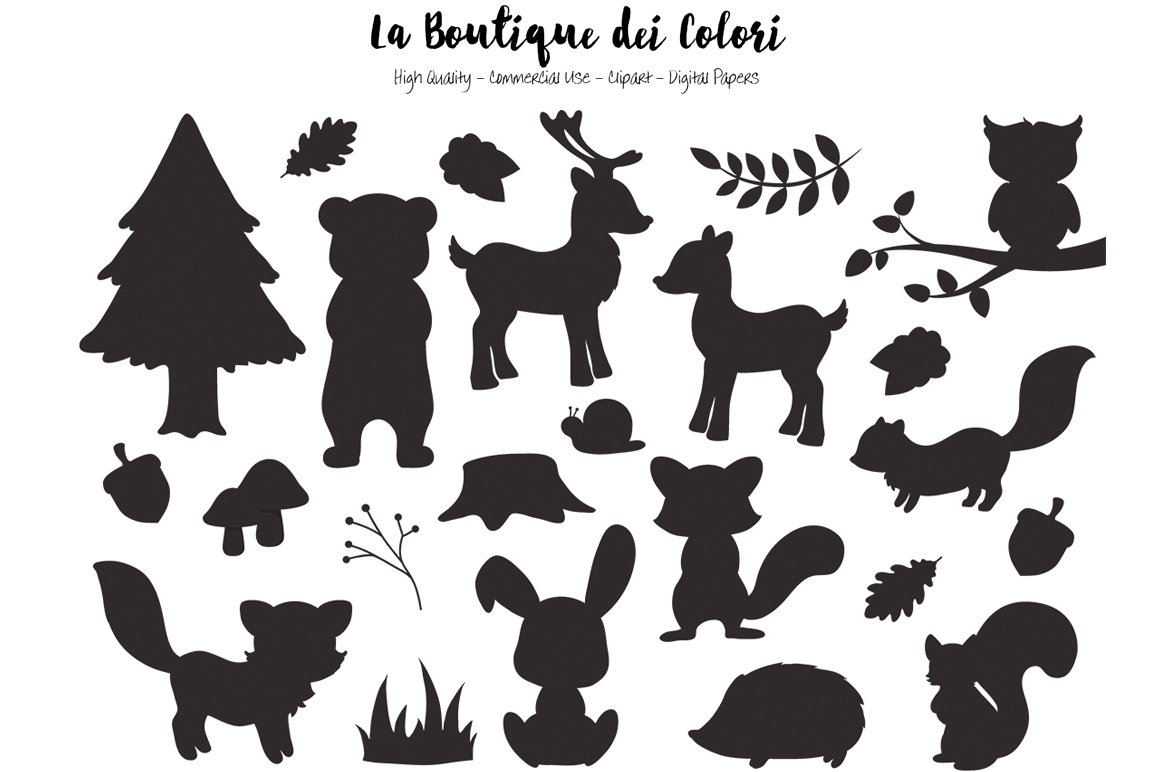 Silhouette Woodland Animal Clipart ~ Illustrations ...