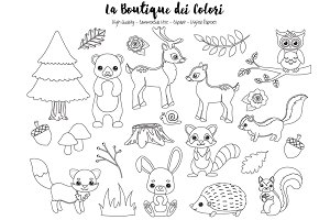 Woodland Animal Stamp Clipart