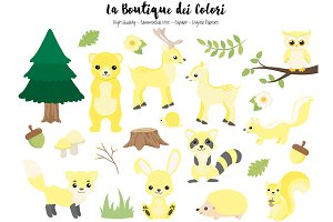 Yellow Woodland Animal Clipart