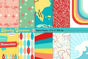 Kitschy Summer Digital Backgrounds