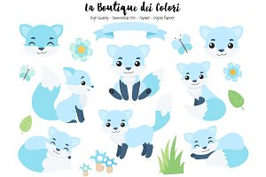 Blue Fox Forest Animals Clipart