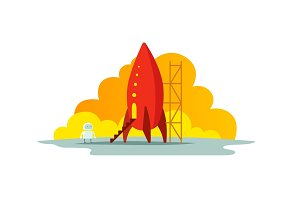Red rocket color illustration. The startup metaphor. Ready to start. The beginning path to the stars.