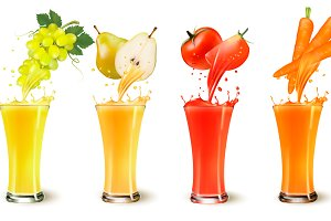 Fruit juice splash in a glass