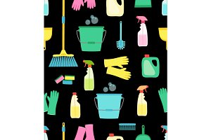 Cute vivid spring cleaning seamless background