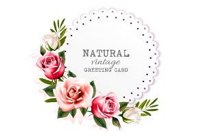 greeting card with colorful flowers