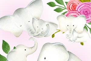Baby and mama elephants clipart set