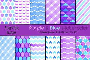 Purple & Blue Watercolor Patterns