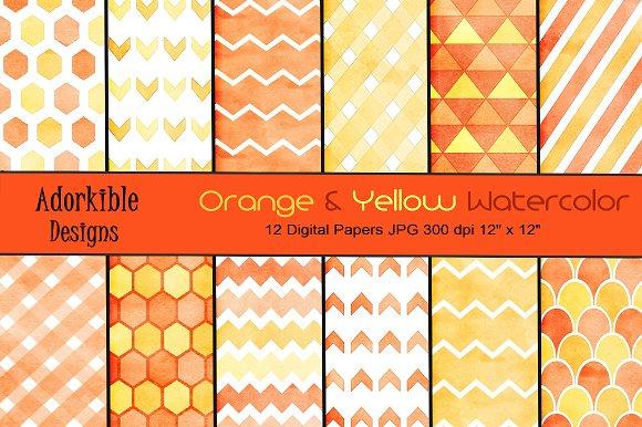 Orange Yellow Watercolor Patterns