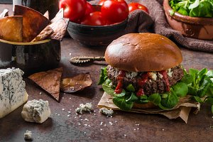 Beef burger with blue cheese