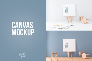 Square Canvas PSD Mockup