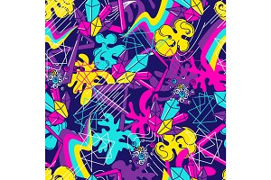 Trendy colorful seamless pattern. Abstract modern color elements in graffiti style