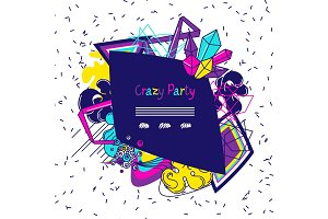Trendy colorful background crazy party. Abstract modern color elements in graffiti style