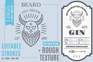 Bearded Skull Logo/Label Template