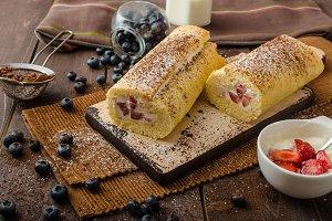 Sponge roll stuffed with strawberry cream