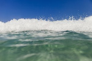 sea wave with waterline