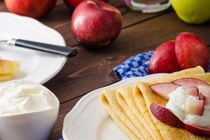 Cream pancakes with nectarines