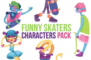 Skaters cartoon characters pack