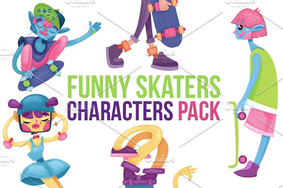 Skaters Cartoon Characters Pack