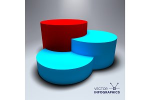Infographic vector 3D pedestal with blue and red columns