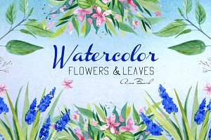 Watercolor hand painted florals kit