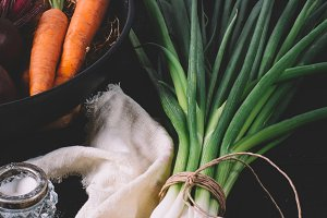 Onions, carrots and beets