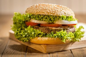 Delicious hamburger with vegetables