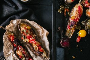 Baked eggplant and vegetables