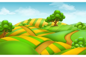 Farm field landscape, vector