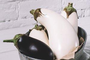 White and black eggplant