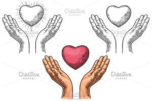 Heart in open female human palms