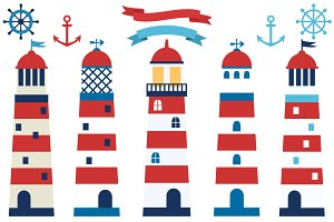 Lighthouses clipart set