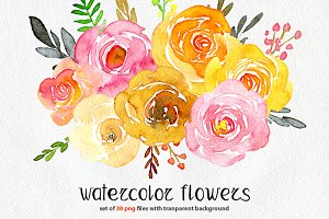Yellow & pink watercolor flowers