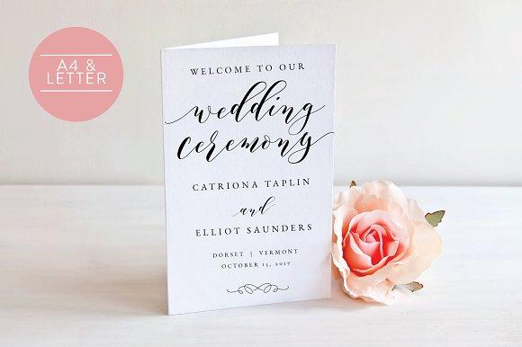 wedding program folded editable invitation templates creative