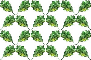 Watercolor oak leaf seamless pattern