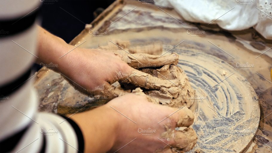 Sculptor Is Pugging Clay For Creating Pottery Arts Entertainment