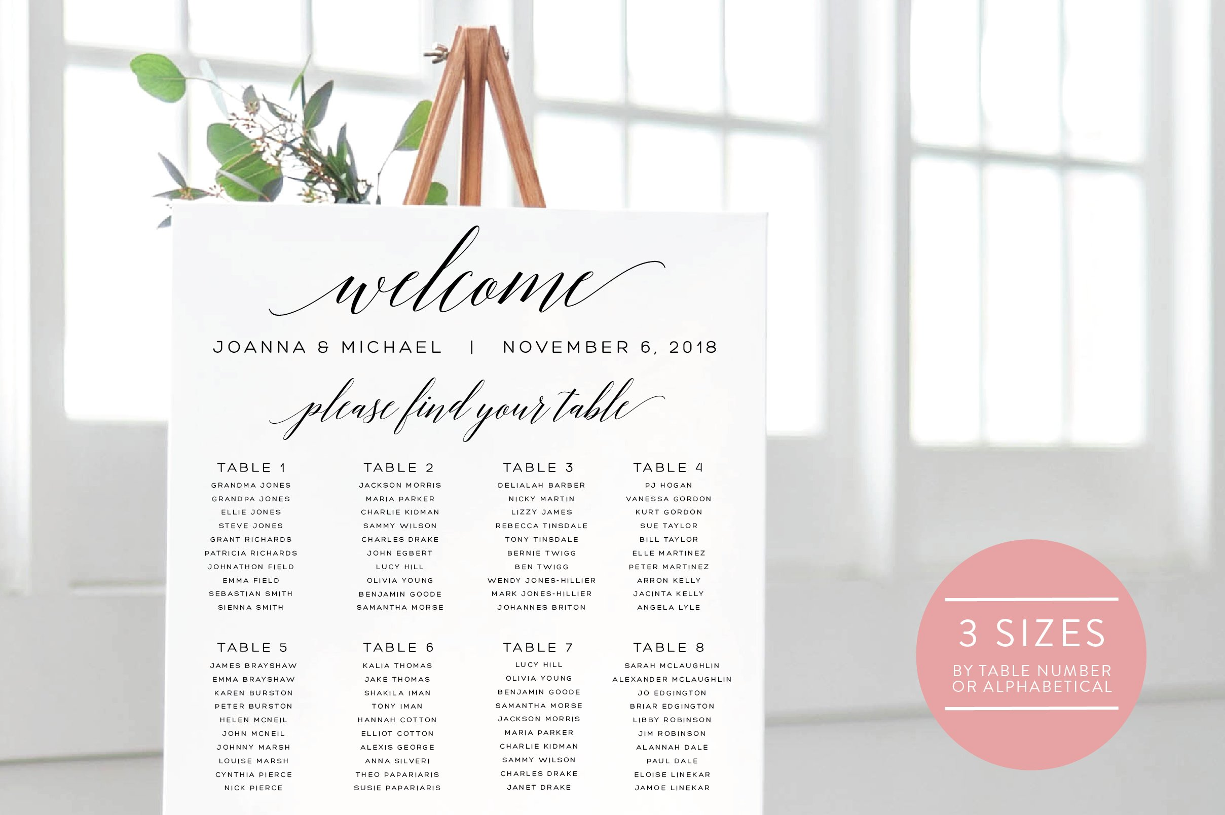 Wedding Seating Chart Editable Pdf Templates Creative Market