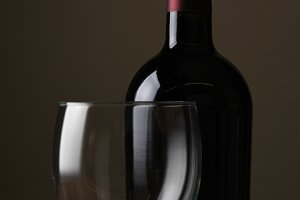 Closeup of a Wine Bottle and Glass