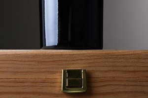 Wine Bottle Standing on Wood Case