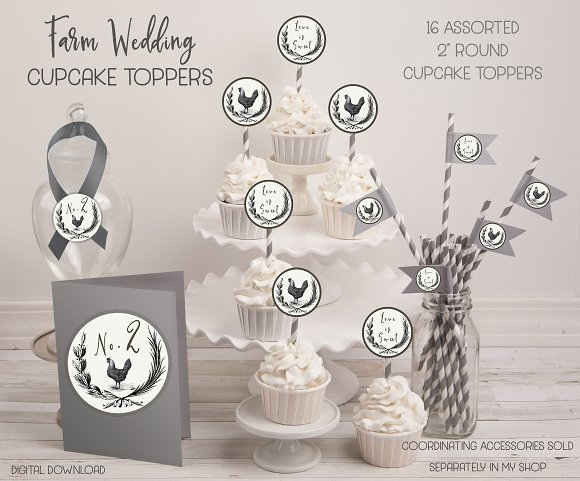 Rustic farm wedding cupcake toppers graphic objects creative market junglespirit Choice Image