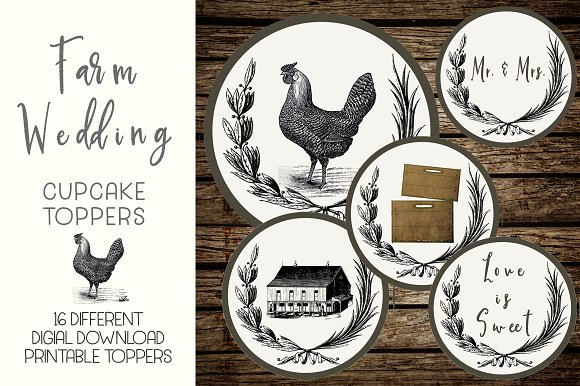 Rustic Farm Wedding Cupcake Toppers